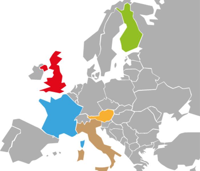 Euroopan kartta, jossa muut maat ovat harmaina, mutta Suomi, Iso-Britannia, Ranska, Italia ja Itävalta ovat väritetty.