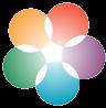 LUMA-kukka, joka koostuu viidestä pallosta, jotka leikkaavat keskeltä muodostaen kukan. Pallojen värit ovat keltainen, punainen, violetti, sininen ja vihreä.