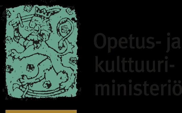 Opetus- ja kulttuuriministeriön logo, joka koostuu kyseisestä tekstistä ja sen vasemmalla puolella on suomen vaakunaleijona vihertävällä taustalla.