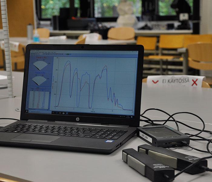 Kannettavalla tietokoneella on voimakuvaaja ja tietokoneen vieressä on tiedonkerääjälaite sekä kaksi puristusvoimakapulaa.
