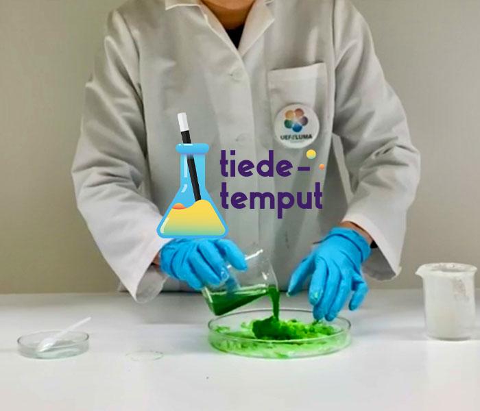 Tutkija kaataa vihreää vettä tärkkelyksestä ja vedestä koostuvan löllöliman joukkoon. Löllölima on kiinteähkö vihreä kasa laakealla tutkimusalustalla. Pöydällä on lisäksi tutkimusvälineistöä.